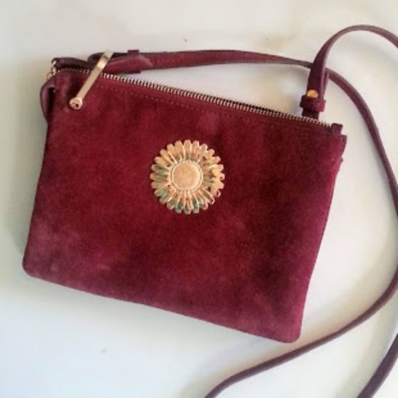 & Other Stories Handbags - & Other Stories wine color gold flower suede bag